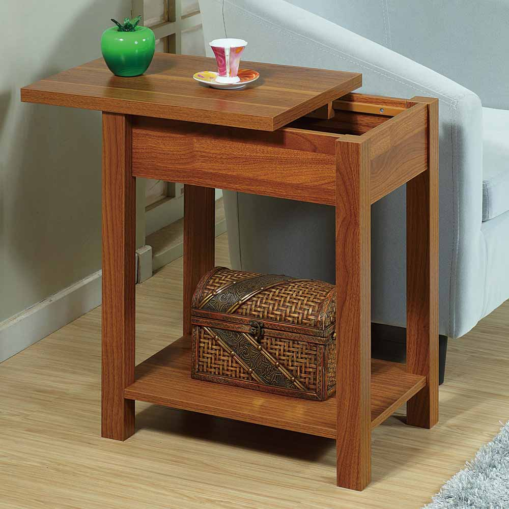 Light Walnut Wood Caleb Accent Table: Accent Chairside Sofa Side Snack Table Stand W/ Top
