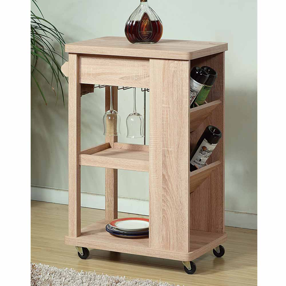 Kitchen Island With Wine Rack: Contemporary Kitchen Island Buffet Serving Cart Rolling