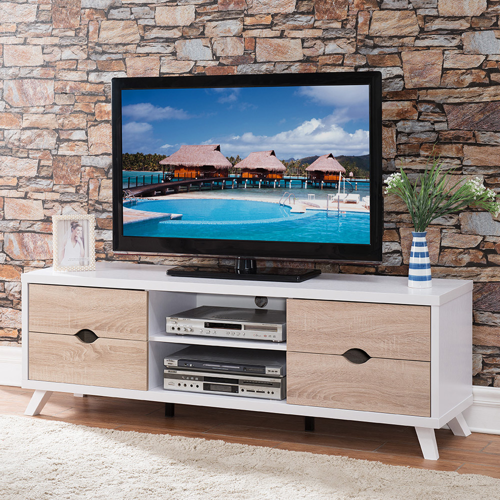 modern home furniture tv stand entertainment center console table wood white ebay. Black Bedroom Furniture Sets. Home Design Ideas