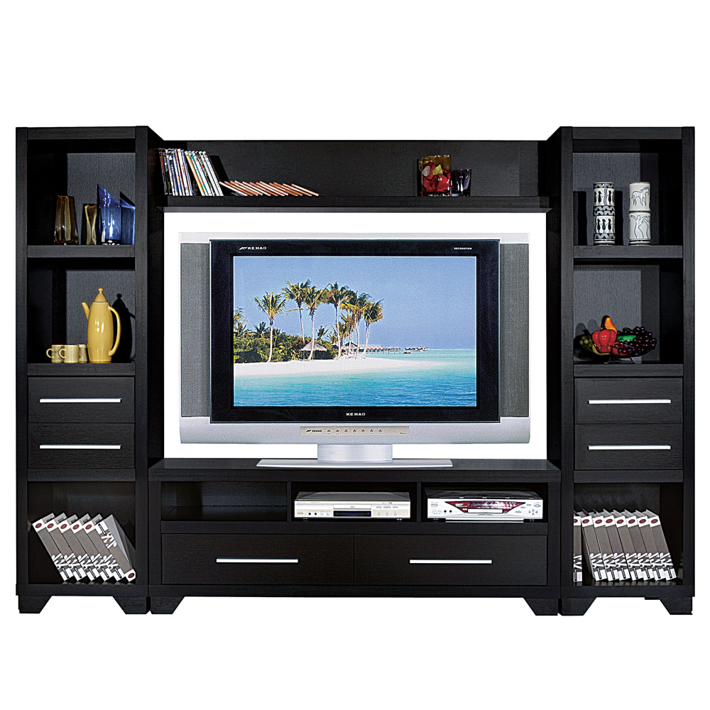 Living Room 4 Pcs Tv Stand Cabinet Entertainment Media Center Tower Bridge Wall Ebay