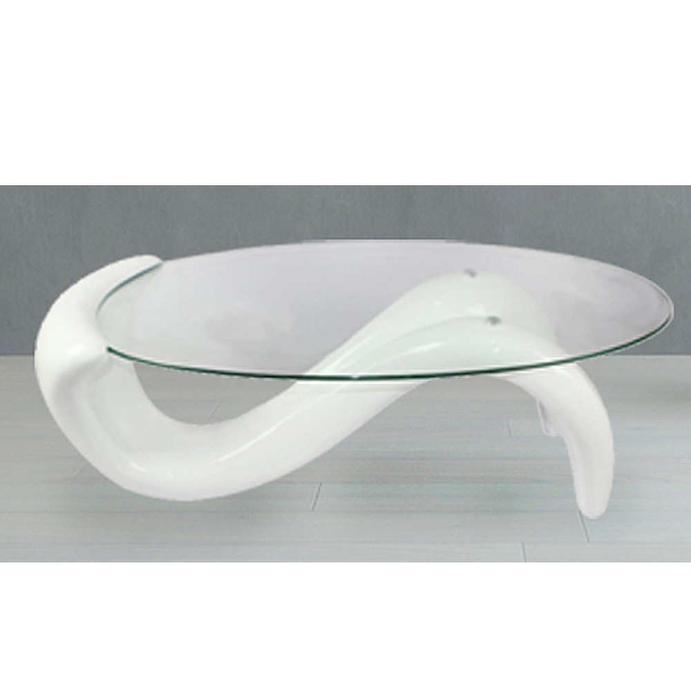 Modern Living Room Coffee Table Oval Glass Top S Shaped