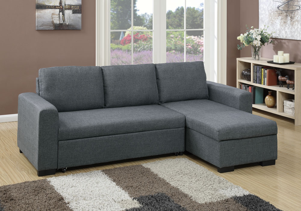Modern 2 Pcs Sectional Sofa Pull Out Bed Under Seat