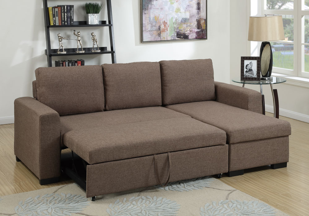 Modern 2 pcs Sectional Sofa Pull-Out Bed Under-Seat ...
