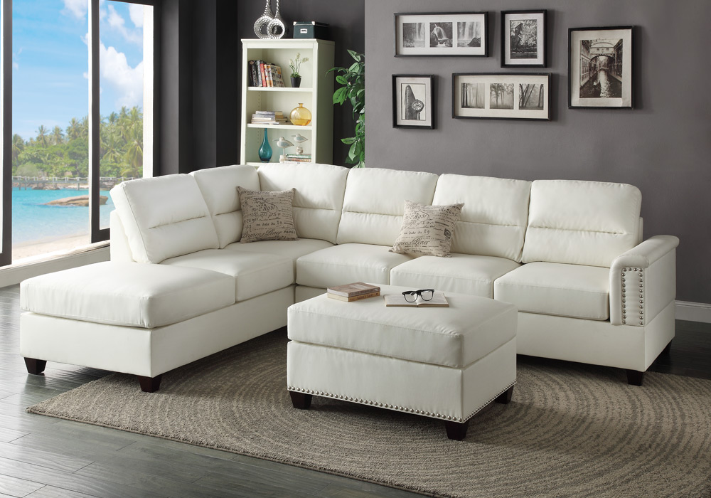 Modern sectional sofa couch reversible chaise ottoman for Sectional sofa bed ebay