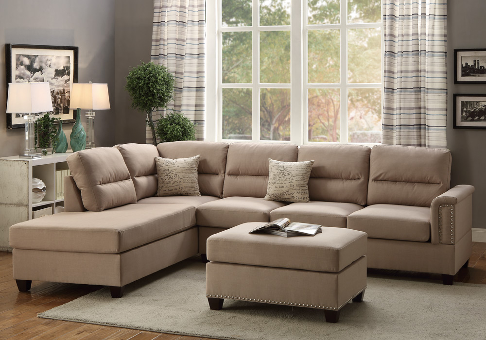 Modern sectional sofa couch reversible chaise ottoman stud for Studded sofa sets