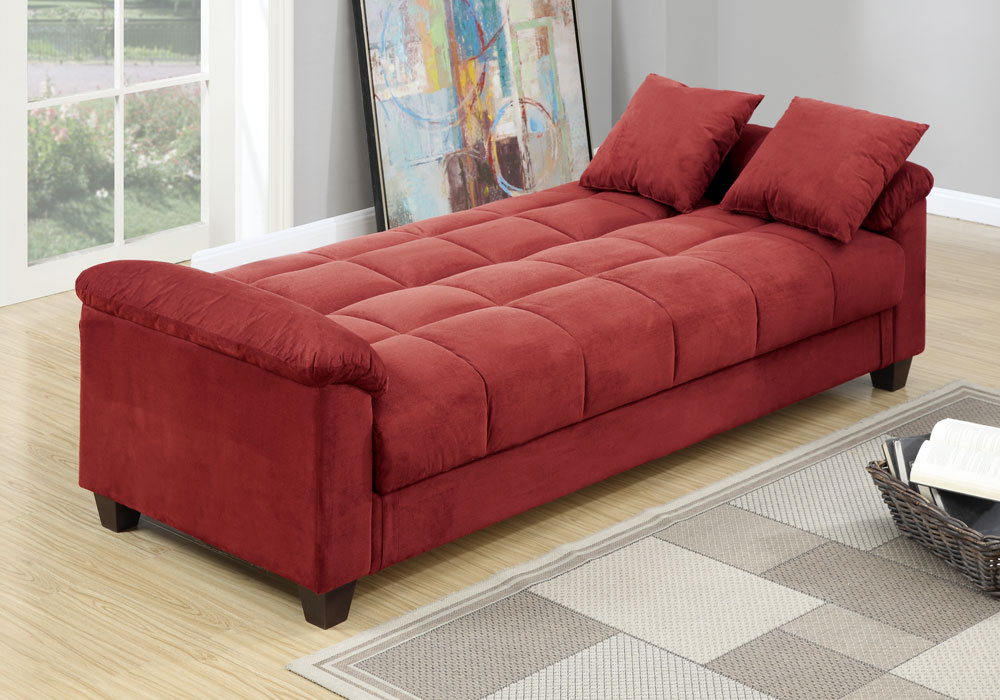 Adjustable Sofa Bed Futon Sleeper Flip Up Under Seat Storage Red Microfiber Ebay