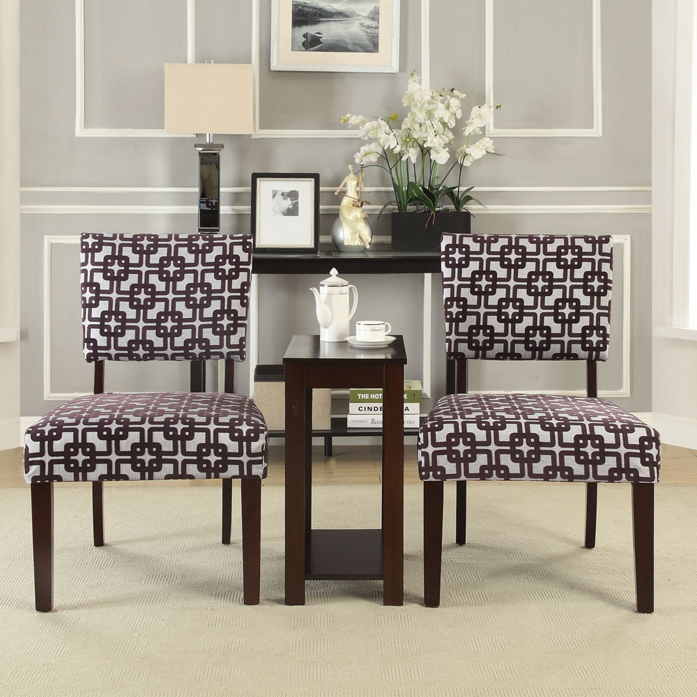 3 PC Occasional Office Home Accent Chair Chairside Side Table Stand Set Optio