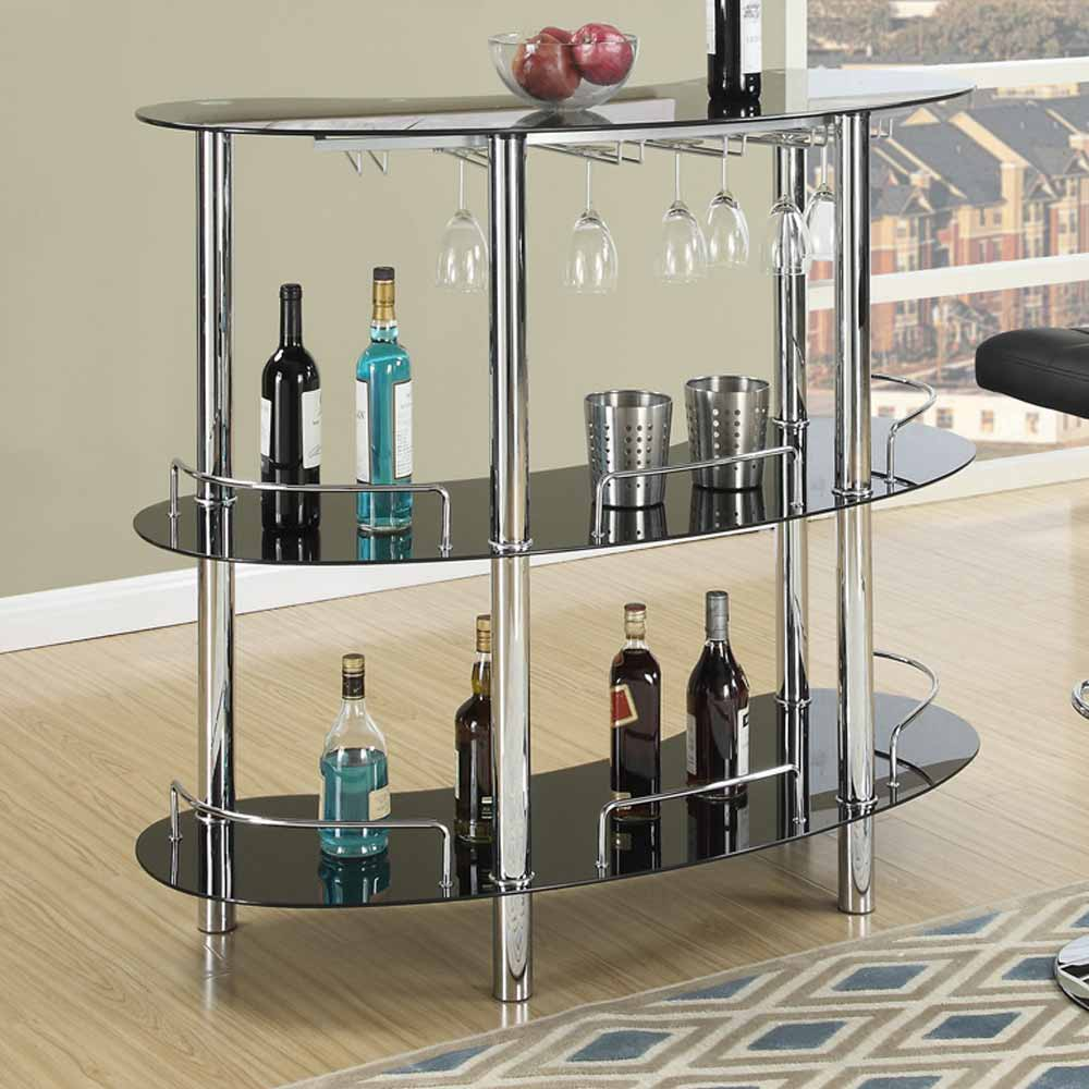 Contemporary home bar table stand black glass shelf wine for Stand pub