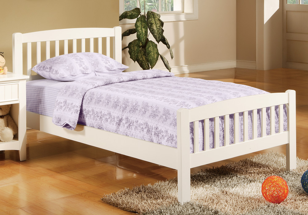 Contemporary mission style youth kids bedroom twin bed for Mission style bed frame plans