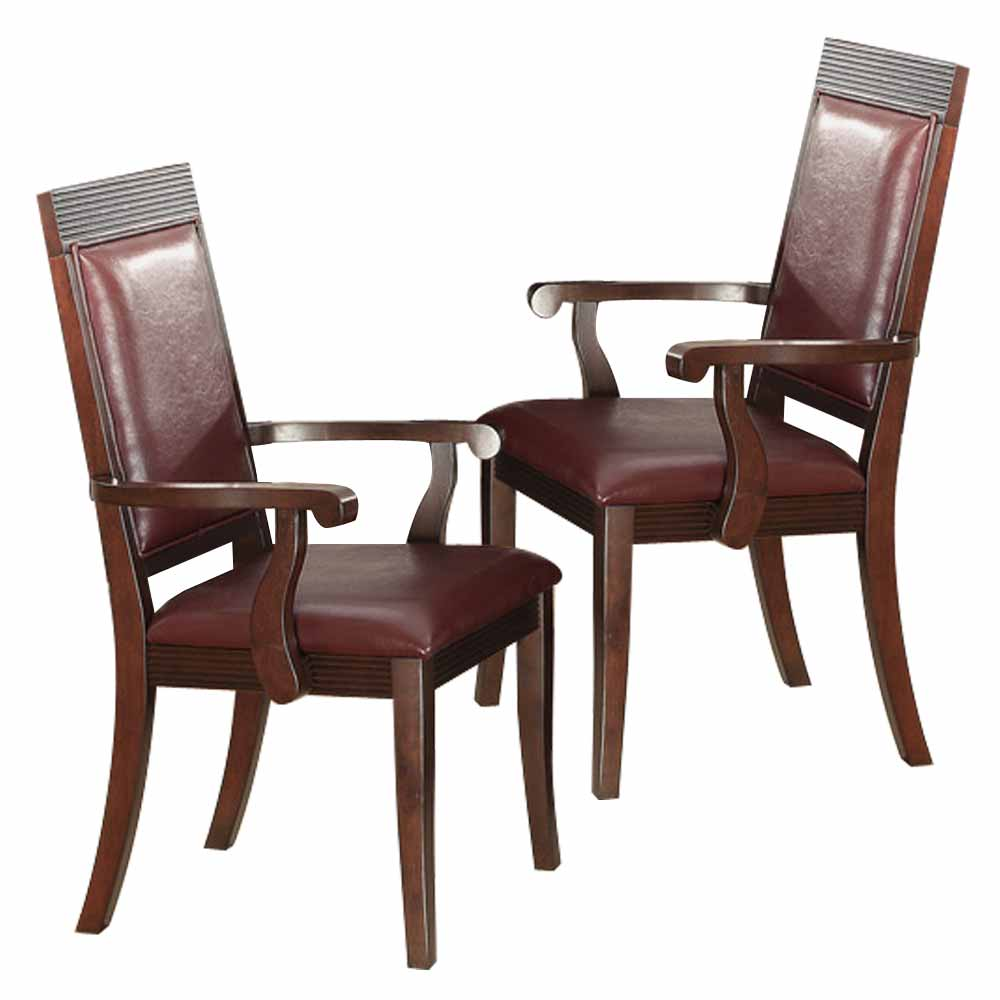 Transitional set of 2 dining arm chairs dark brown wood for Leather dining room chairs with arms