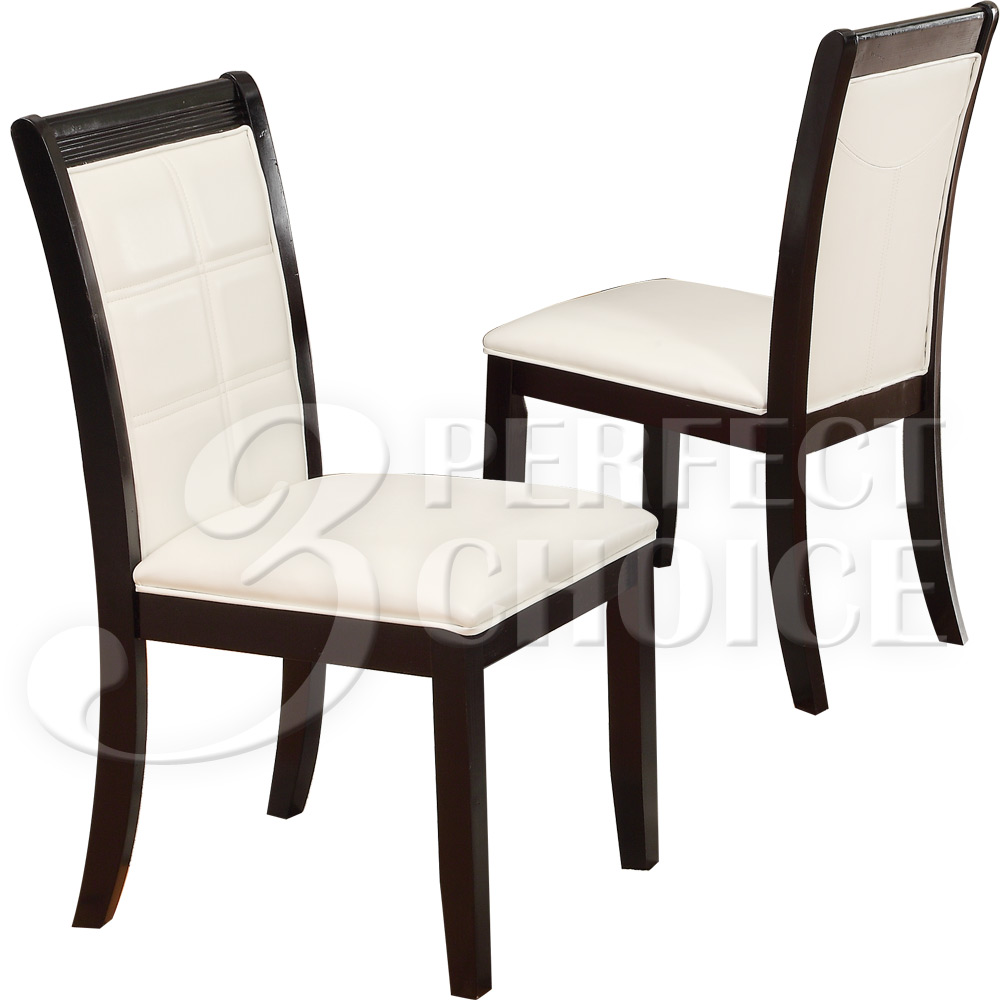Set of 2 dining side chair cream upholstered pu seat high for Cream upholstered dining chairs