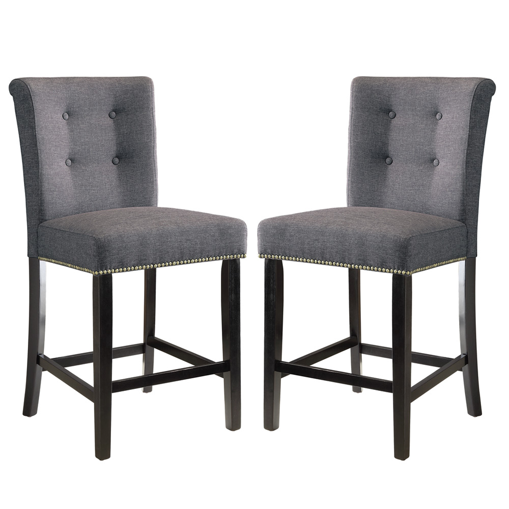 """Dining Room Chair Height: 2 Pcs Dining Counter Height Side Chair Nailhead Trim 24""""H"""