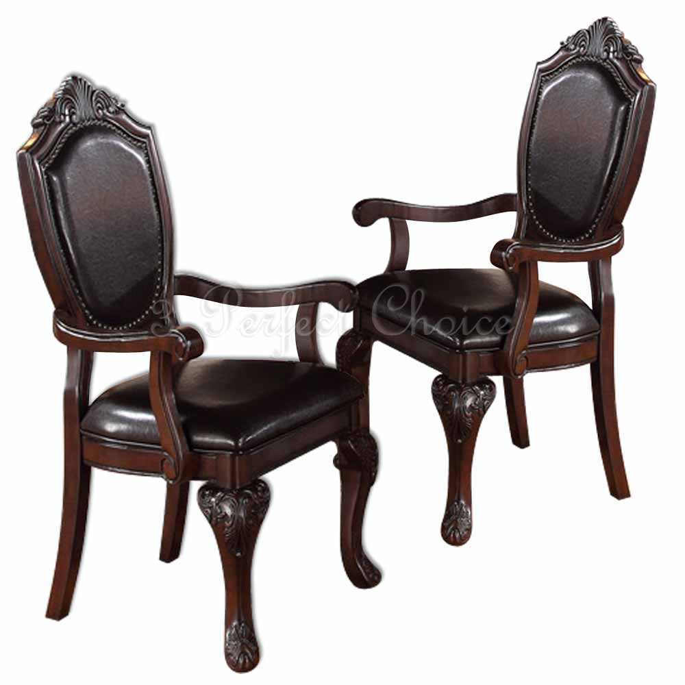 formal dining room sets with leather chairs | 2 PC Formal Dining Arm Chair Decor Foot Upholstered Faux ...