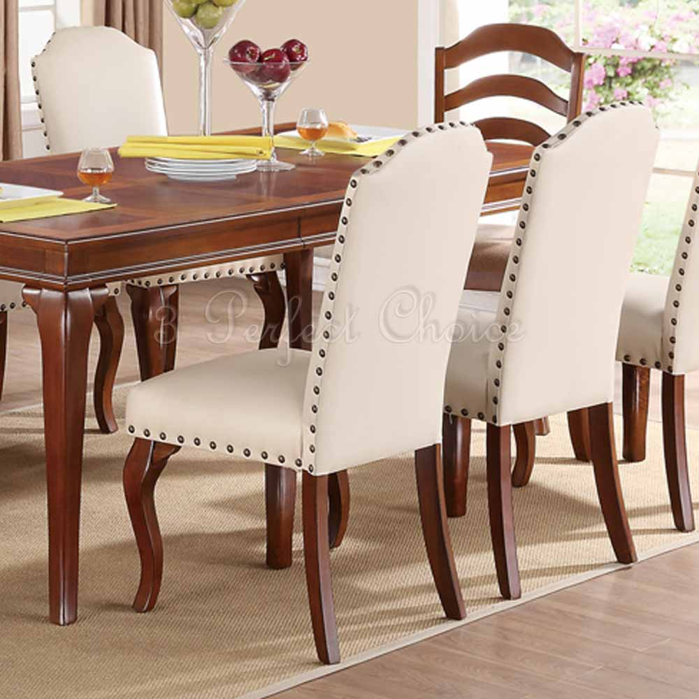 Dining Room Set For 2: Set Of 2 Formal Dining Side Chairs Cream Upholstered Faux