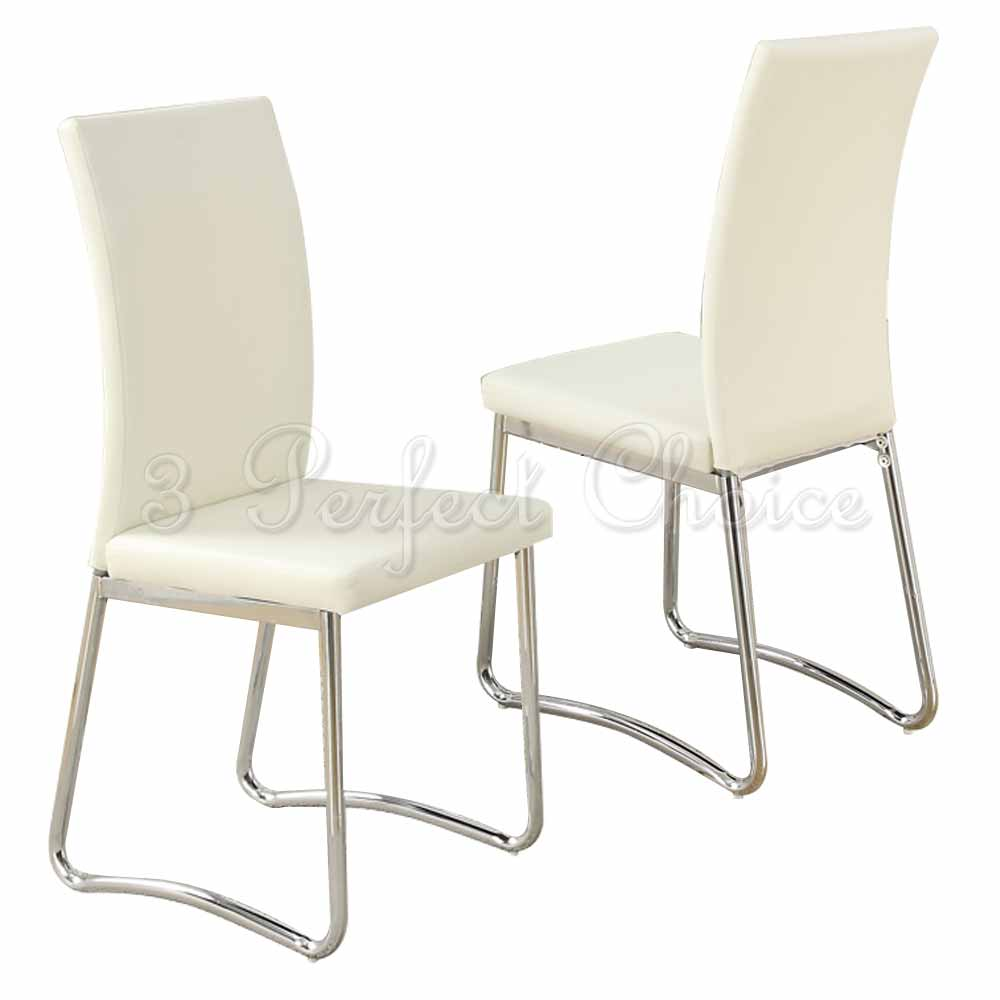Modern 2 pc cream faux leather upholstered dining side for Leather dining chairs with metal legs