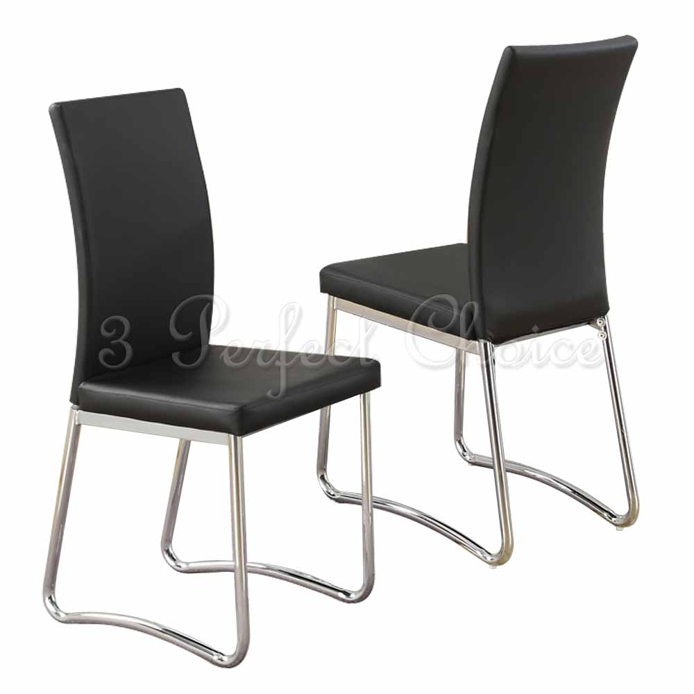 Modern 2 pc black faux leather upholstered dining side for Modern metal chairs