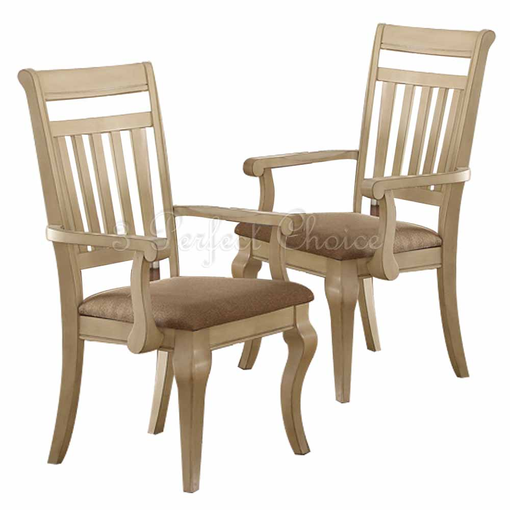 Formal Dining Room Furniture Manufacturers: Set Of 2 Formal Dining Arm Chairs Medium Wood Trimmed