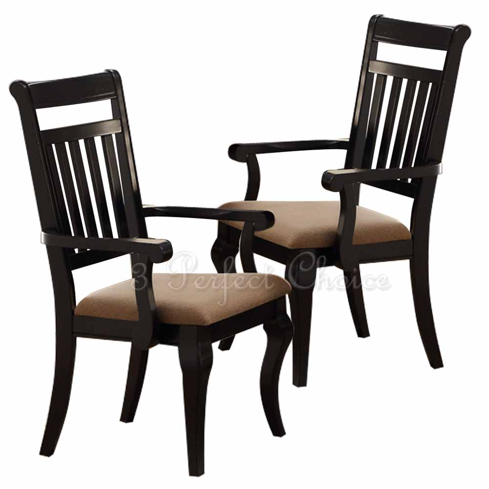 Set of 2 formal dining arm chairs upholstered seat panel for Formal dining chairs