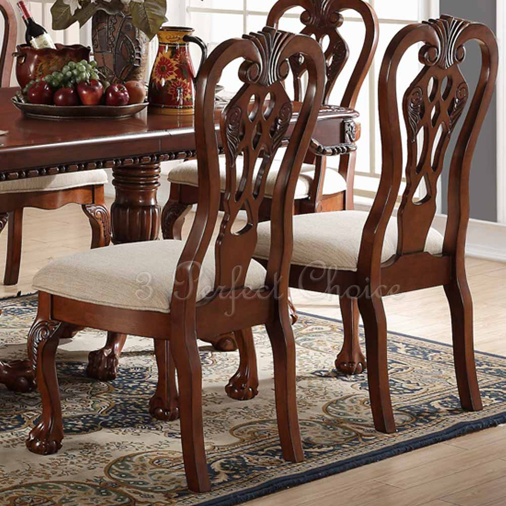 Cherry Dining Room Chairs: Set Of 2 Formal Dining Side Chair Carving Legs Cherry Wood