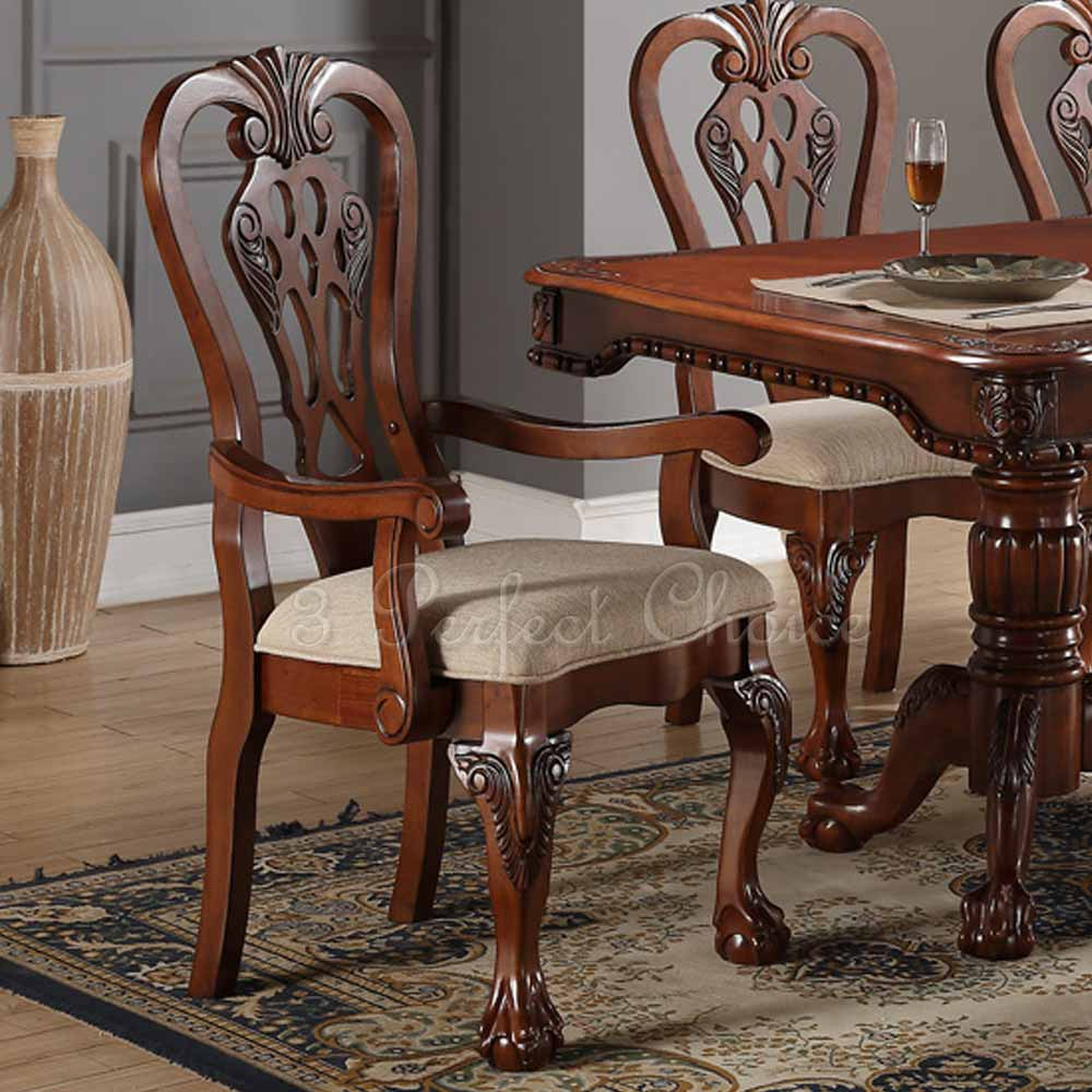 Set Of 2 Formal Dining Arm Side Chair Carving Legs Cherry