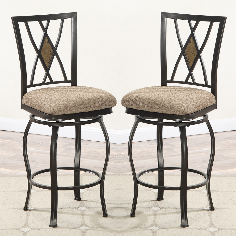 set of 2 swivel counter height 24 h stools chairs diamond stone back fabric seat ebay. Black Bedroom Furniture Sets. Home Design Ideas