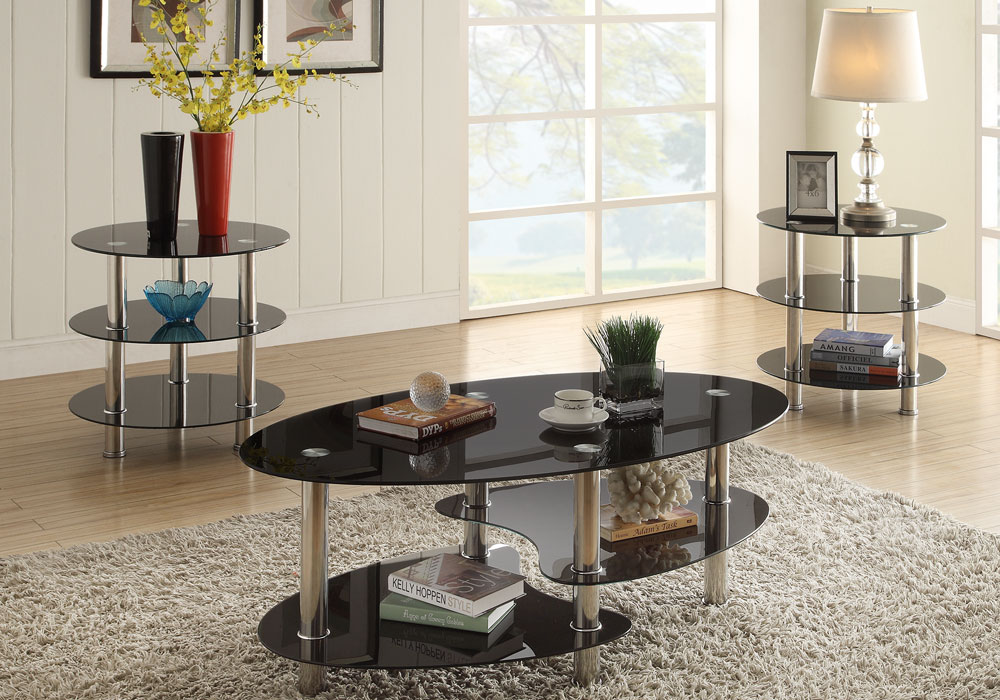 Set Of 3 Glass Tables: 3 Pcs Tri-Level Black Glass Oval Cocktail Coffee Table End