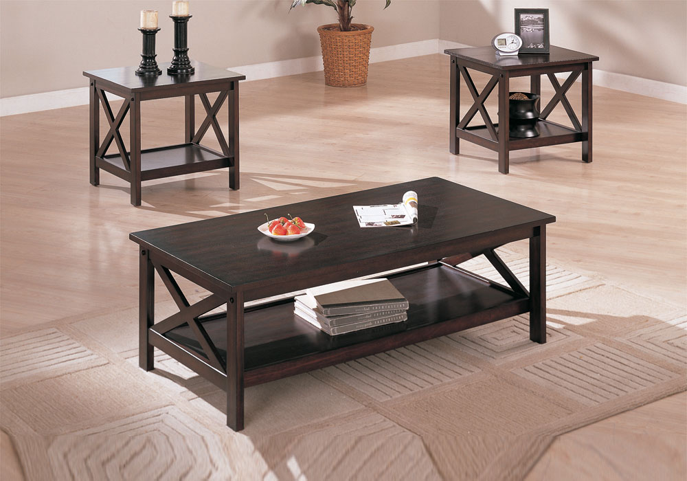 3 pieces dark brown coffee end table set stand living room