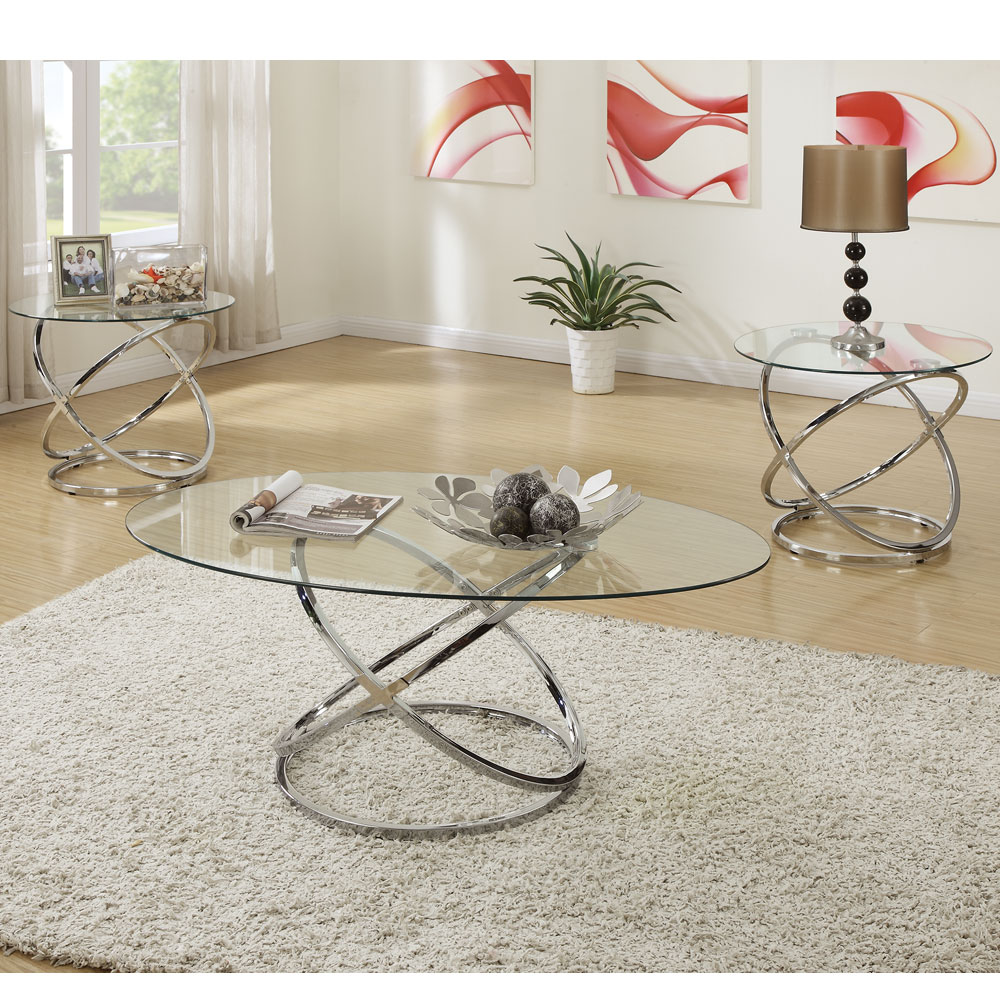 Silver Metal And Glass Coffee Table: 3 Pcs Oval Glass Cocktail Coffee Table Round End Side