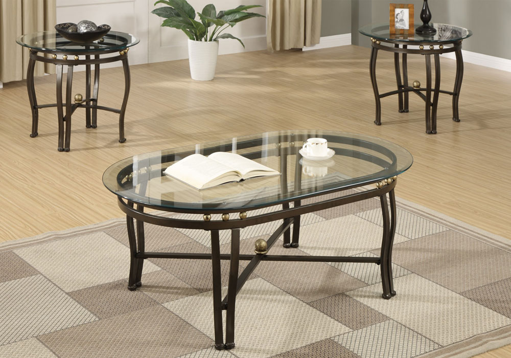 3 pieces modern oval coffee round end table set glass top for Bronze metal coffee table