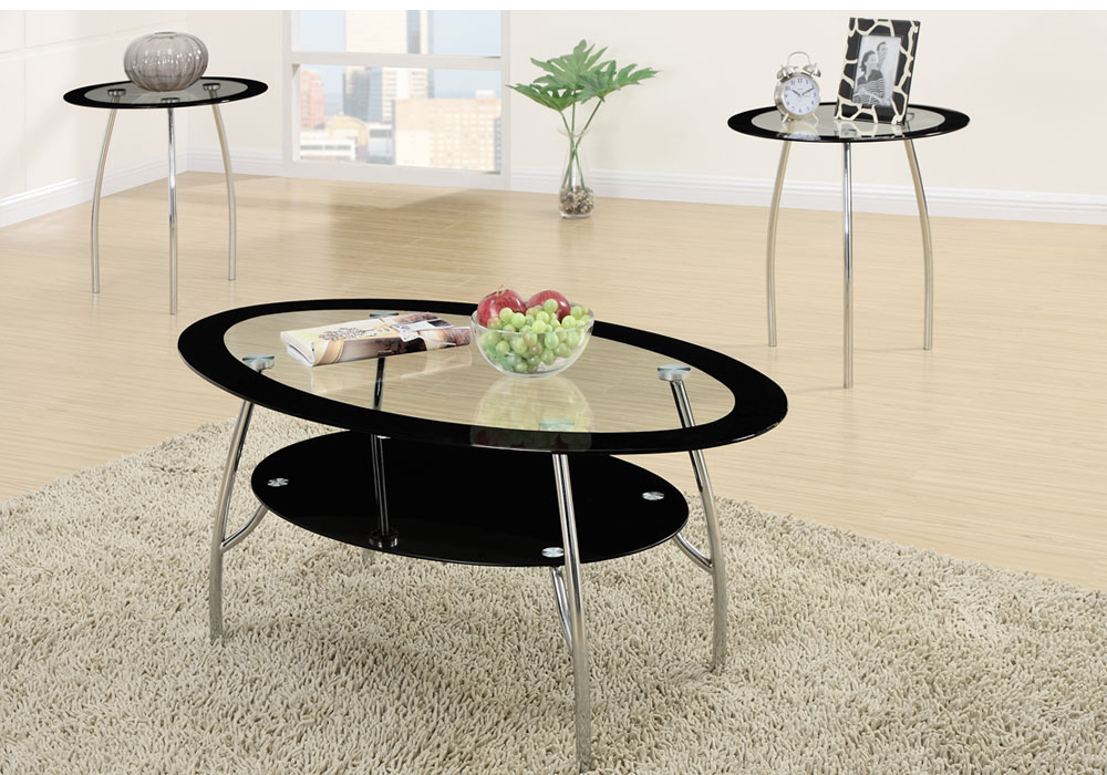 3 Pcs Round Black Glass Cocktail Coffee Table End Side Table Set Metal Base
