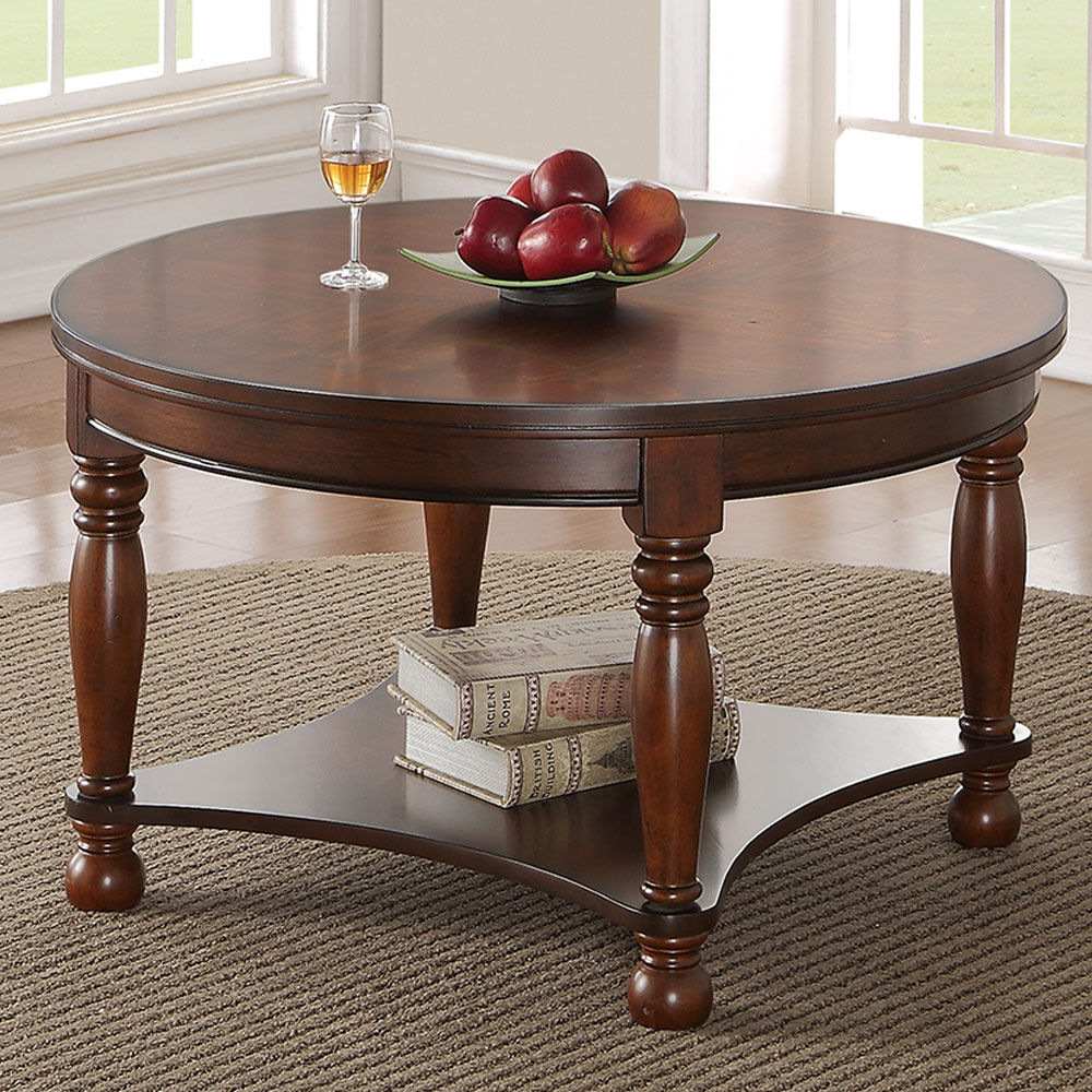 Round Coffee Table For Living Room: Classic Living Room Wood Round Cocktail Coffee Accent