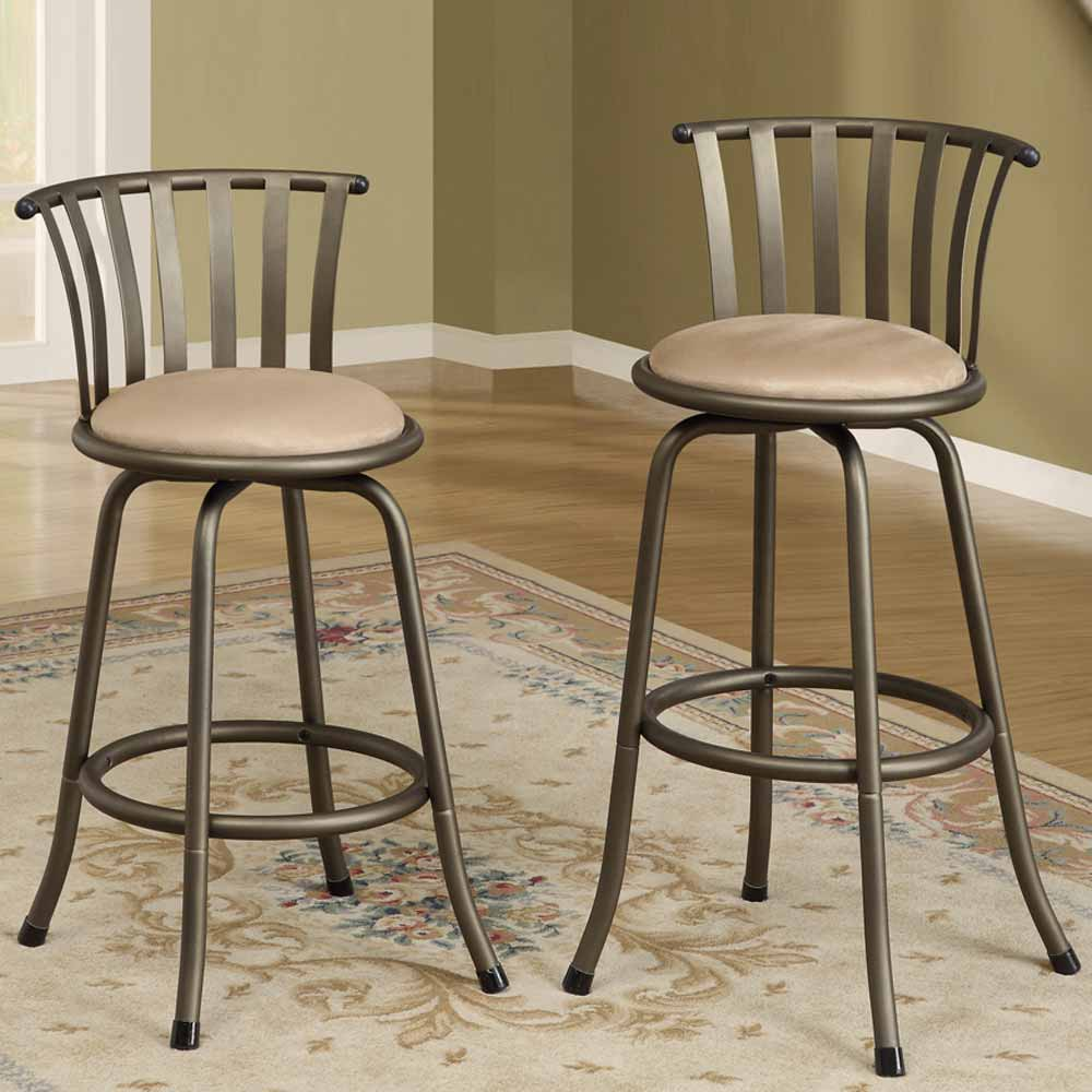 Kitchen Counter With Bar Stools: Set Of 2 Bar Counter Height Swivel Barstools Adjustable