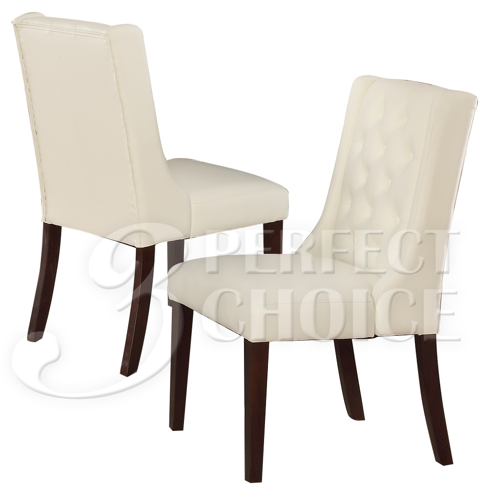 Set of 2 dining side chairs tufted back white comfort for Tufted leather dining room chairs