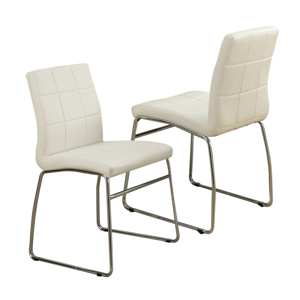 Modern faux leather casual regular dining side chair for Modern metal chairs
