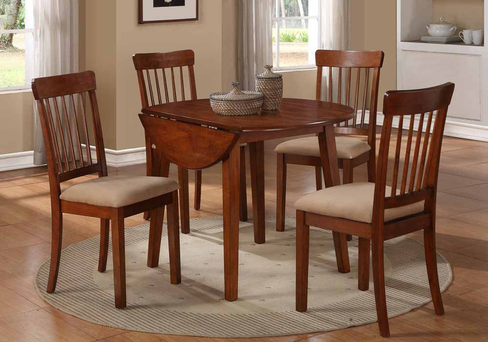 Traditional 5 PC Dining Set Double Drop Leaf Round Table Top Side Chairs Fabr