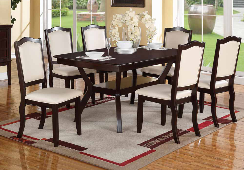 ... Wood 7 pieces Dining Set / Table and Chairs Espresso & Cream  eBay