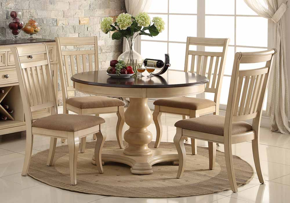 5 pcs elegant dining round table set antique cream cherry for Non traditional dining room chairs