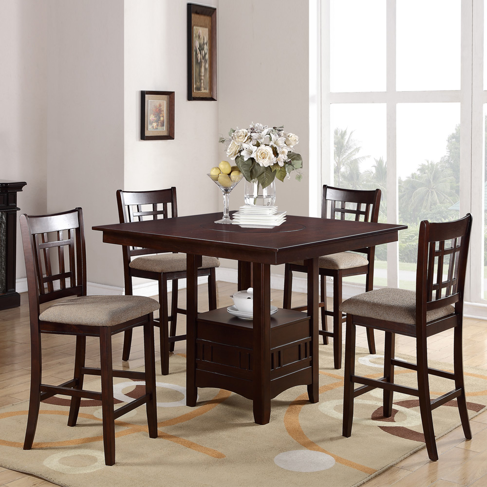 Dining Sets With Storage: 5 PC Counter Height Dining Set Built-in Lazy Susan Storage