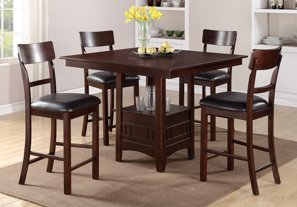 Modern 5 Pcs Counter Height Dining Set Built in Lazy Susan  : PDEX F2346 F1207x2 from www.ebay.com size 1000 x 700 jpeg 223kB