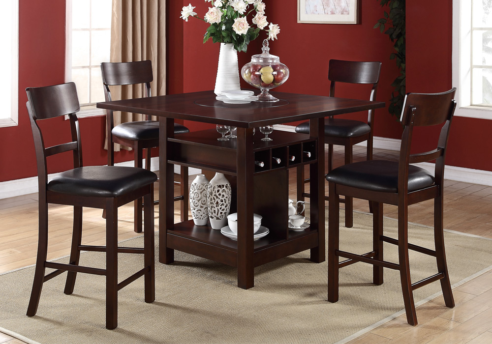 pcs counter height dining set built in lazy susan table wine storage