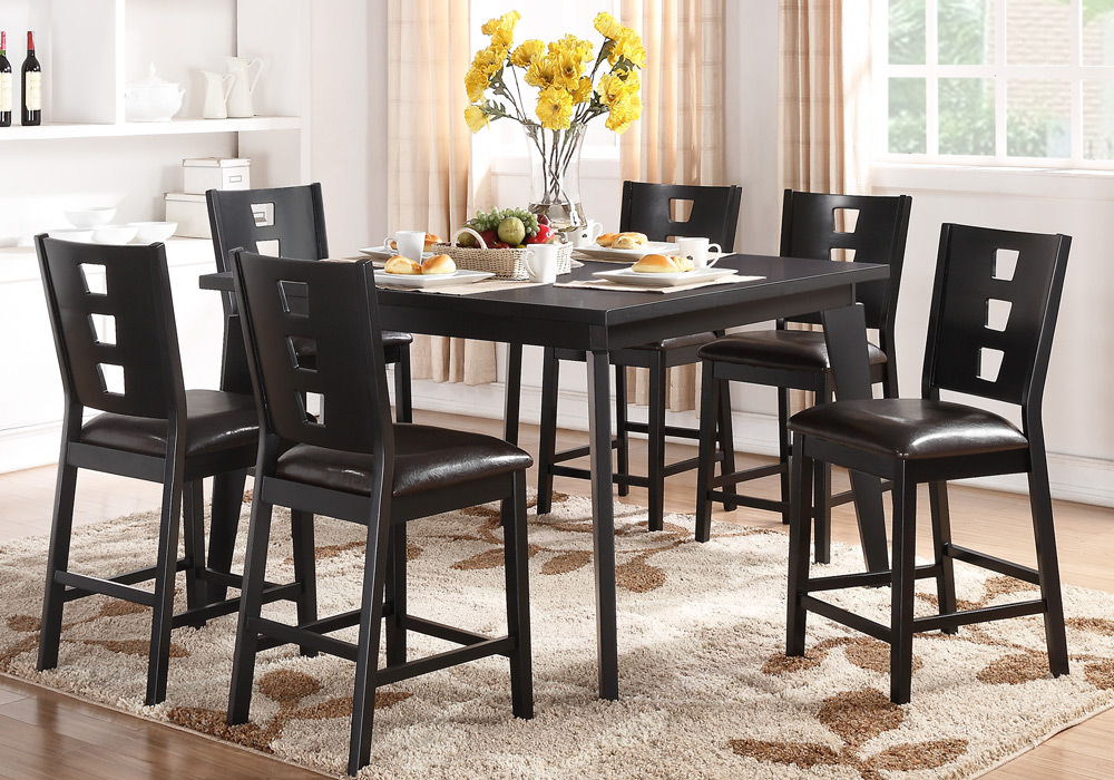 7 Pcs Counter Height Dining Set Rectangular Table Dark