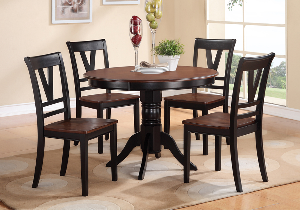 Round Wooden Kitchen Table Sets: 5 PCS Country Style 2-Tone Black Cherry Wood Round Table