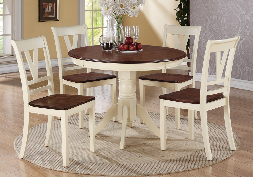 5 pc country 2 tone cream cherry wood round dining table