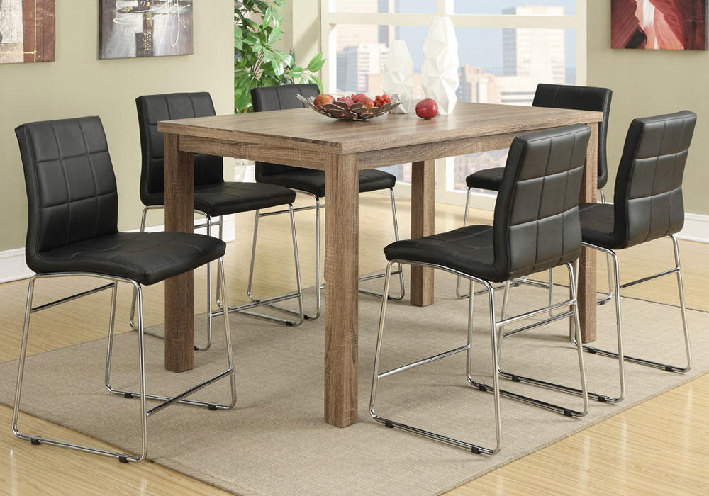 7 PC Modern High Gloss Counter Height Dining Oak Table Set W Faux Leather Ch