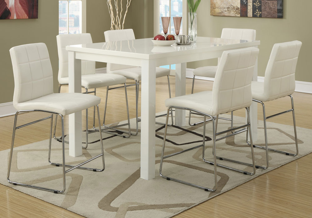 counter high dining room sets   7 PC Modern High Gloss Counter Height Dining Set ...