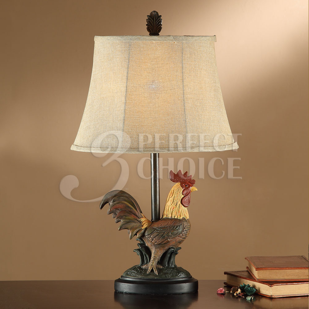 24 h table lamps farm style rooster kitchen replica base set of 2
