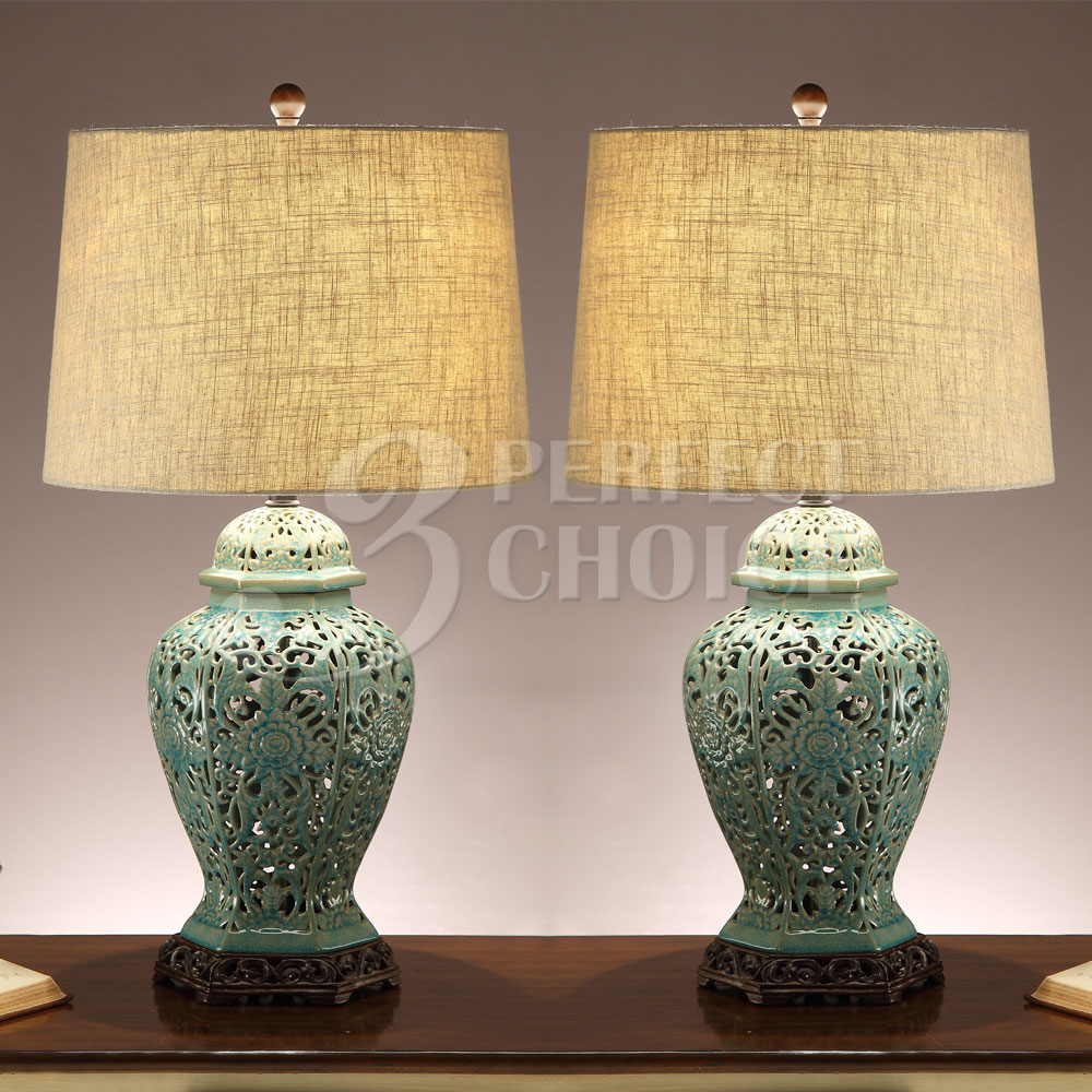 Set Of 2 Table Lamps Ceramic Mint Hue Garden Cutout Base