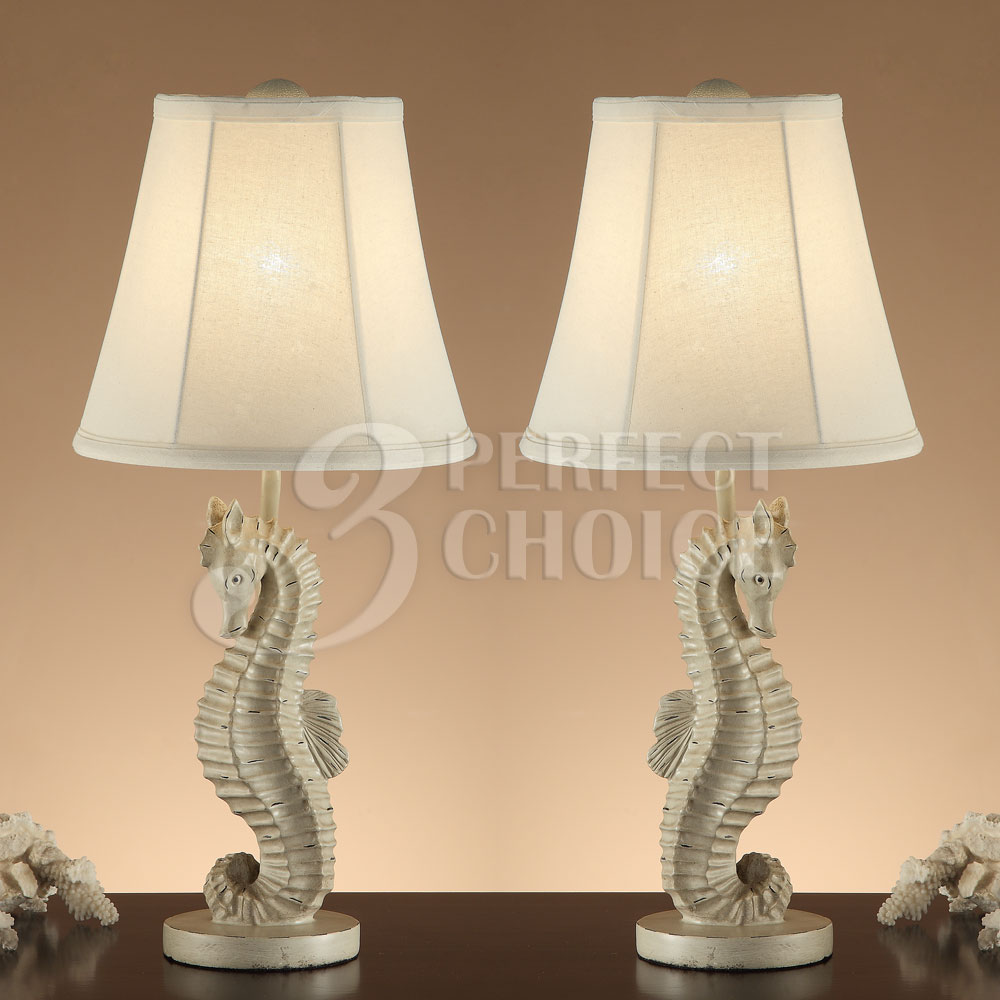 of 2 table lamps fun living space seahorse base bell shaped shade 24 h. Black Bedroom Furniture Sets. Home Design Ideas