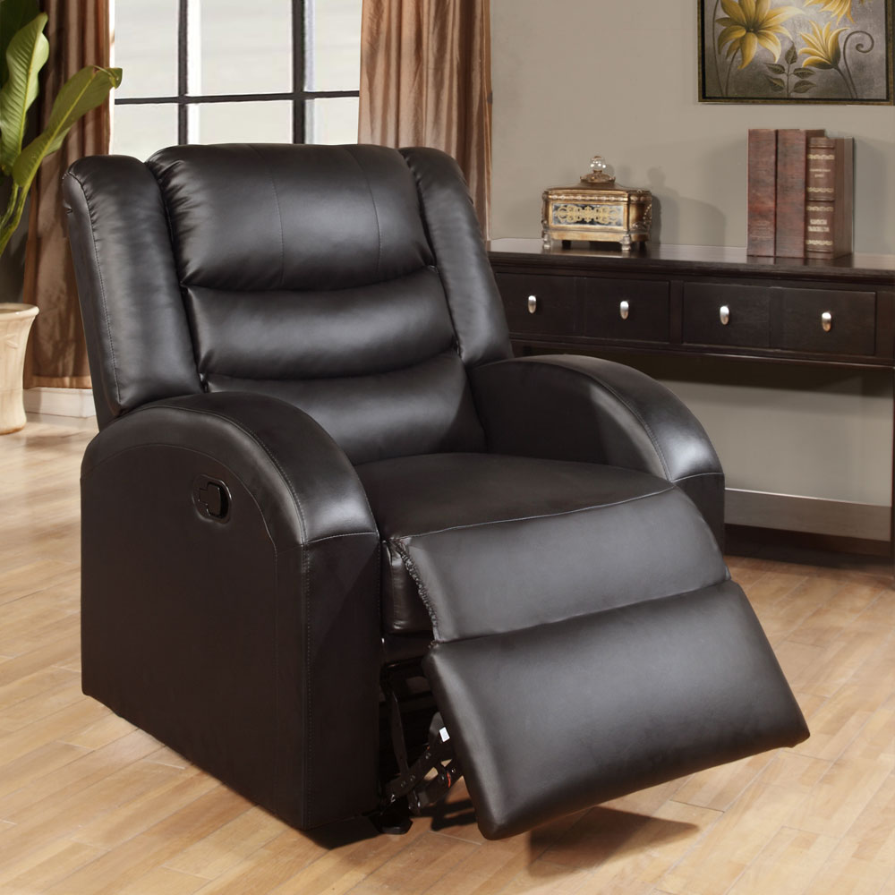 Modern Motion Sofa Couch Loveseat Set Glider Recliner Chair Black Bonded Leather Ebay