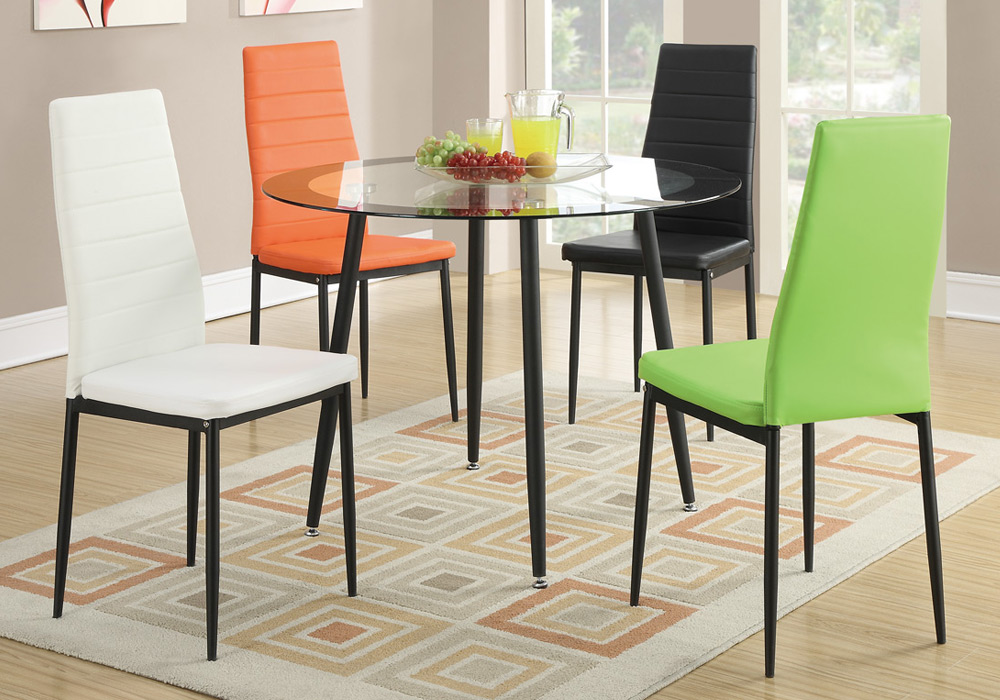 Set of 4 Retro Dining Chairs w Faux Leather Black Metal  : F1366 67 68 69 from www.ebay.com size 1000 x 700 jpeg 196kB